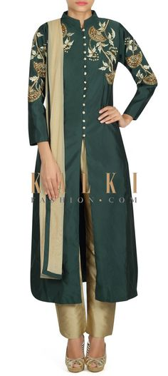 Buy this Dark green A line suit with embroidered armhole only on Kalki