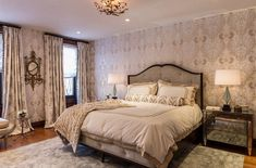 Hollywood Regency Golden Bed with white linen