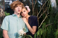 Models Tatiana and Yan from Charme de la Mode agency shot by Ola Grochowska. portrait fashion photoshoot forest