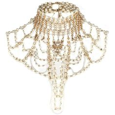 River Island Gold tone pearl Art Deco jewelled cape ($83) ❤ liked on Polyvore featuring jewelry, necklaces, accessories, jewel necklace, chain jewelry, chain necklace, jeweled necklace and art deco pearl necklace