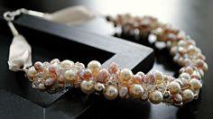 Freshwater pearls, swarovski crystal wire wrapped necklace Wire Wrapped Necklace, Handmade Jewellery, Wire Wrapping, Swarovski Crystals, Beaded Bracelets, Glitter, Pearls, Handmade Jewelry, Handcrafted Jewelry