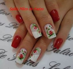 New nails acrilico rojas ideas Manicure Rose, Pedicure Nail Art, Gel Nail Art, Nail Art Designs, Pretty Nail Designs, Holiday Nails, Christmas Nails, Ongles Forts, Leopard Print Nails