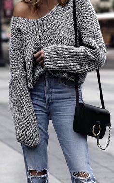 Basic denim jeans + oversized sweater