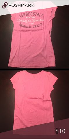 Aeropostale Tee Pink tee with gray and white logo Aeropostale Tops Tees - Short Sleeve