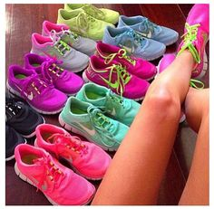 Nike Free shoes- yes please I'll take both the bright pink, teal, and black pairs!!!