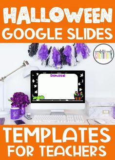 Decorating your classroom for Halloween will be so fun when you add these fun and festive Google Slides templates to your classroom space! High School Classroom, Classroom Walls, Classroom Design, Kindergarten Classroom, Fall Classroom Decorations, Meet The Teacher Template, Center Rotations, Spelling And Grammar, Seasonal Decor