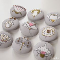 lovelui blog: DIY Embroidered Button Project - Botanical Button Panel