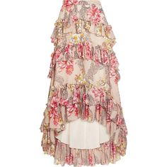Philosophy di Lorenzo Serafini Tiered ruffled floral-print cotton and... ($1,015) ❤ liked on Polyvore featuring skirts, long layered ruffle skirt, flower print skirt, long pink skirt, flower maxi skirt and long skirts