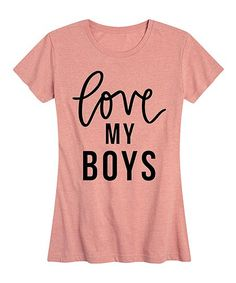 Instant Message Womens Desert Pink Love My Boys Relaxed-Fit Tee - Women & Plus | Zulily