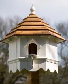 A dovecot(e) is a building intended to house doves or pigeons. They have been made in a variety of shapes and styles over the centuries, b. Wooden Bird Houses, Bird Houses Diy, Fairy Houses, Bird House Plans, Bird House Kits, Dove House, Pigeon House, Bird Tables, Palomar