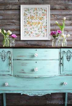 chalky finish mint and floral buffet, chalk paint, crafts, diy, painted furniture