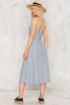 Via Marina Strapless Midi Dress - Clothes | Day | Stripes