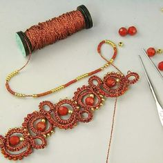 Kit and tutorial step by step available Tatting Bracelet, Tatting Jewelry, Lace Jewelry, Needle Tatting, Tatting Lace, Boot Cuffs, Seed Beads, Crochet Earrings, Swarovski