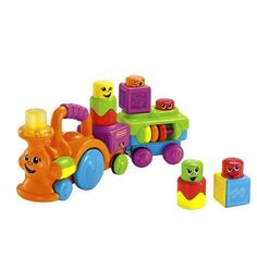 Fisher-Price Peek-a-Boo Stack 'n Surprise Blocks Choo-Choo by Fisher Price. $42.50. From the Manufacturer                All aboard! Bring building fun to a new level with music, lights, and peek-a-boo, pop-up action. Baby can stack four character blocks on the train's building surfaces, then push it along to make them come to life as silly faces pop up and down. Music plays and lights dance when baby presses the smokestack! Includes 3 AAA batteries. Enhances Learning T...