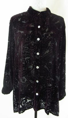 CHICO'S Dark Purple Burnout Velvet Paisley Print 2 L Rayon Silk Shirt Blouse