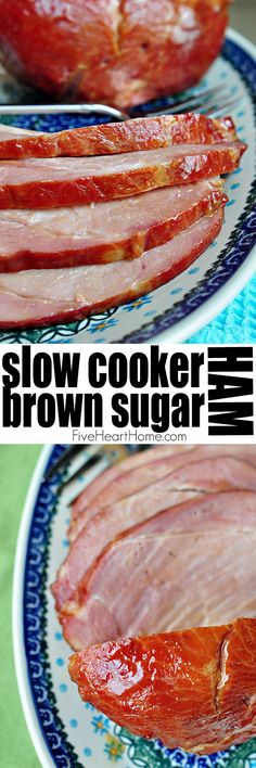Slow Cooker Brown Sugar Ham ~ an effortless way to cook your holiday ham in the crock pot with a glaze of pineapple juice, brown sugar, balsamic vinegar, Dijon, and honey.perfect for Christmas or Ea (Christmas Bake Crock Pot) Cooking Ham In Crockpot, Crock Pot Slow Cooker, Slow Cooker Recipes, Cooking Recipes, Slow Cooking, Crock Pot Ham, Crockpot Meat, Cooking Rice, Ham Dinner