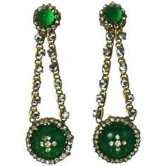 Miriam Haskell Faux Emerald Long Earrings | From a unique collection of vintage drop-earrings at https://www.1stdibs.com/jewelry/earrings/drop-earrings/