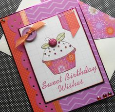 Birthday Card with Matching Embellished by SewColorfulDesigns, $5.00