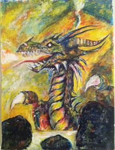 painting of a dragon. 18x24 in, acrylic on 90lb art paper free shipping USA
