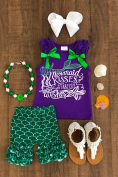 "Purple ""Mermaid Kisses Starfish Wishes"" Short Set"