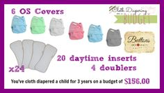 8-10 covers, 18-24 inserts, and 2-3 doublers to cloth diaper your child from birth to potty training.   [..]