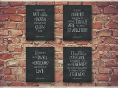 Harry Potter Wall Art Dumbledore Quote Set of Four 4 School Counselor Gift Print Therapist Office Room Wall Decor Classroom Teacher 1400CB by Framedbyu on Etsy https://www.etsy.com/listing/246159929/harry-potter-wall-art-dumbledore-quote