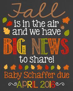 Fall Pregnancy Announcement Chalkboard Poster by PersonalizedChalk