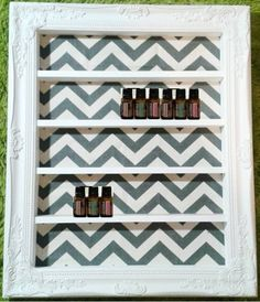 I am in LOVE with these custom, handmade wooden shelves! They're perfect for storing and displaying 5ml and 15ml essential oil bottles. Smaller shelves hold about 20 bottles; larger shelves can hold up to 80 bottles. You get to pick your size, frame style, color, and background pattern. Love it!