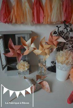 10 Moulins à vent peche abricot beige corail - décoration mariage - décoration baptême - accessoires photobooth - décoration chambre enfant fille bébé : Décorations murales par la-fabrique-a-reves