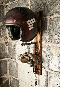 The Solo #Motorcycle #Helmet Rack: http://columnm.com/the-solo-motorcycle-helmet-rack #threepence