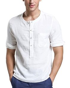 55%Linen 45%Cotton Retro pleated linen cotton Collarless henley shirt for men 3/4 sleeve casual shirt with single pocket