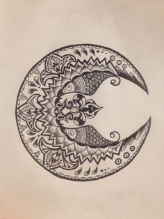 Beautiful moon tattoo design by AislingH Pretty Tattoos, Love Tattoos, Beautiful Tattoos, Tatoos, Mandalas Painting, Mandalas Drawing, Moon Tattoo Designs, Mandala Tattoo Design, Tatouage Indie