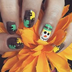 Fall nails. Scarecrow nails.