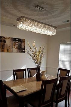 "7Pm W40"" X D10"" Modern Rain Drop Rectangle Clear K9 Crystal Inspiration Rectangular Dining Room Lighting Decorating Inspiration"