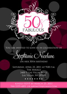 Gold invitation 50th birthday invitation for women adult 50th birthday invitations for her printable filmwisefo Gallery