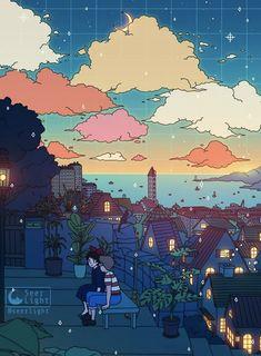 All Studio Ghibli Movies, Studio Ghibli Art, Anime Scenery Wallpaper, Cartoon Wallpaper, Aesthetic Art, Aesthetic Anime, Studio Ghibli Background, Japon Illustration, Animes Wallpapers