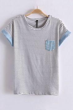 Leisure Stripe Print Short Bat Sleeve T-shirt LOVE
