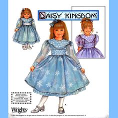"""623 Simplicity 5437 Girls & 18"""" Dolls Dress with Sheer Sleeve and Overlay Option size 7 8 10 12 14 Daisy Kingdom Sewing Pattern Uncut by ladydiamond46 on Etsy"""