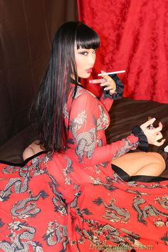 Avena Lee - Dragginladies , Hot Asian Brunette Girl Smoking Cigarettes Wearing Lingerie, Heels, Kimono