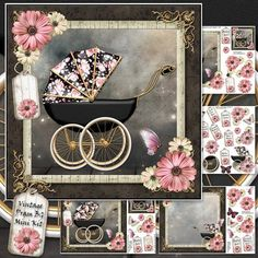 Vintage Pram BG Mini Kit on Craftsuprint designed by Karen Wyeth - A charming mini kit for a new baby or expecting mother. Contains a Vintage Pram Baby Girl card front topper, with matching insert section panel, decoupage items, embellishments and extra gift tag toppers. A choice of sentiment panels are also included. Lots of options with this gorgeous kit. Enjoy! xk - Now available for download!
