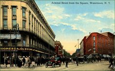 Postcard showing Arsenal and Court Streets, Watertown, NY