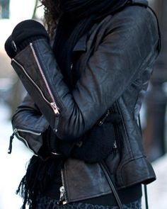 leather - gloves - scarf - cold