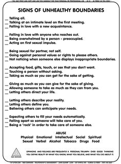 Mental Health- Recreation Therapy Ideas: Signs of Unhealthy Boundaries Coaching, Coping Skills, Social Skills, Life Skills, Social Work Exam, Life Lessons, Therapy Tools, Therapy Ideas, Art Therapy