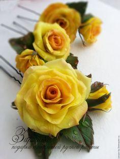 Купить Шпильки Розы - комбинированный, шпильки, шпильки для волос, шпильки для невесты, розы, шпильки с розами