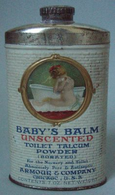 EARLY EMBOSSED BABY'S BALM TOILET ADVERTISING POWDER TIN EXCELLENT CONDITION #BabysBalm