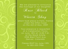 Lime Green Wedding Invitations With Photo Cards Weddings