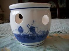 Windmill Scene Tulip Pot Delft Blue by ALEXLITTLETHINGS on Etsy