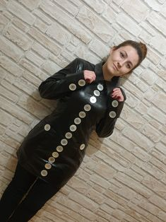 Gothic Fashion, Women's Fashion, Large Buttons, Button Dress, Patent Leather, Dresses, Style, Elegant, Dressing Up
