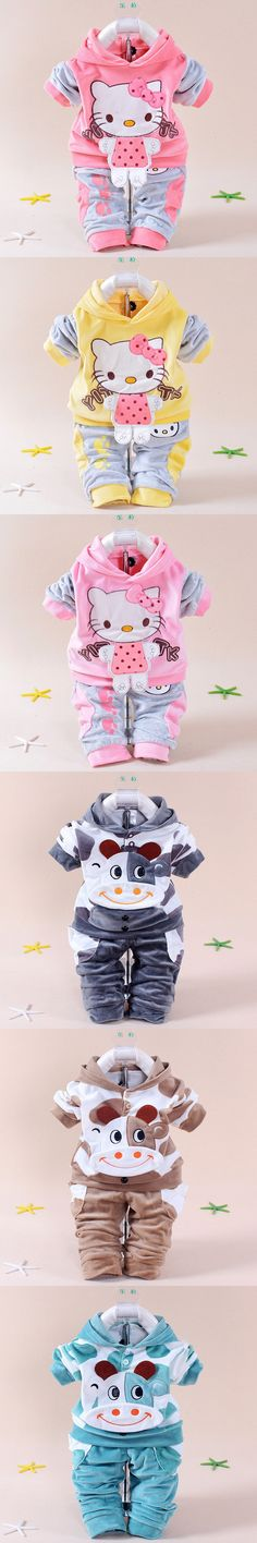 2016 spring new baby kids children Hello Kitty clothing set boys girls Velvet clothes set cartoon T Shirt Hoodies Pant suit $10.99