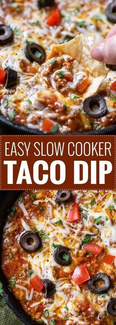 Ultimate Slow Cooker Taco Dip   This taco dip is party and game-day ready, and needs only 10 minutes of prep before going in your slow cooker! Great taco flavors, and you can easily swap out the beef for ground turkey to lighten it up!  